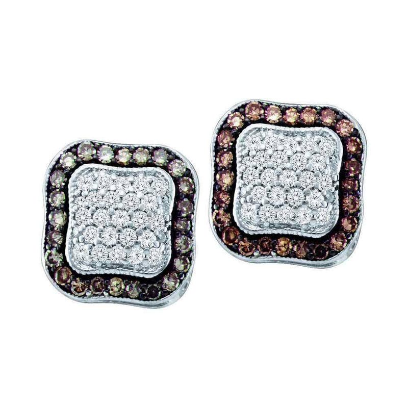 10kt White Gold Womens Round Brown Color Enhanced Diamond Square Cluster Earrings 1.00 Cttw