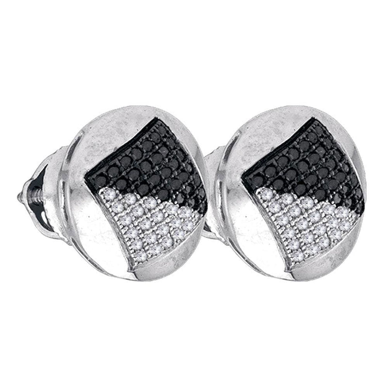 Sterling Silver Mens Round Black Color Enhanced Diamond Circle Cluster Stud Earrings 1/3 Cttw