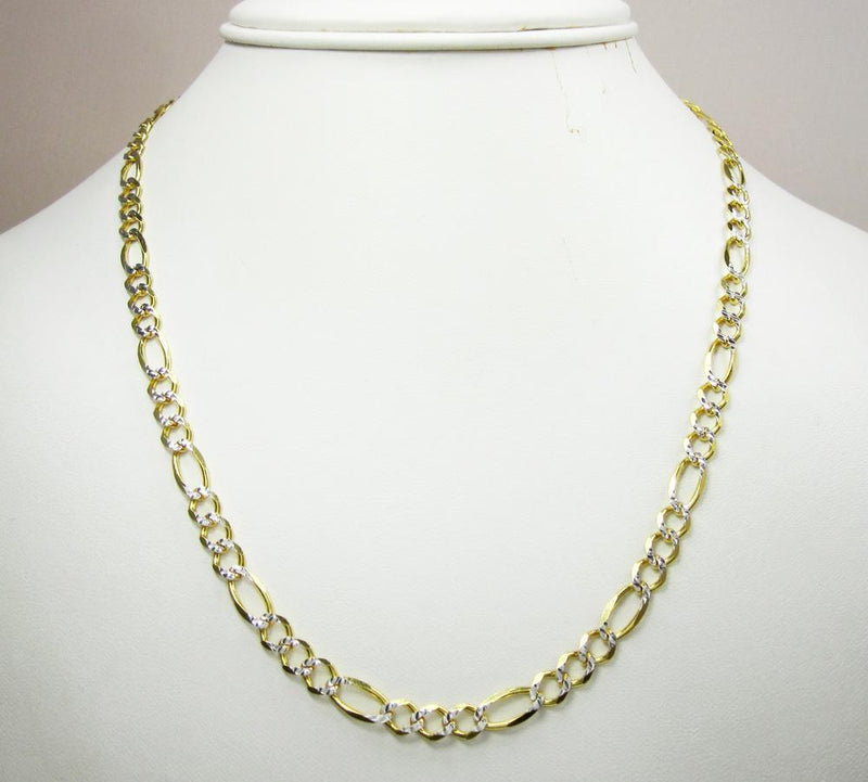 5.5MM 14K Yellow Gold Pave Figaro Link Chain, Chain, Jawa Jewelers, Jawa Jewelers