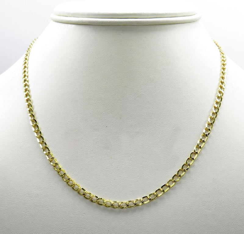 3.5MM 10K Yellow Gold Cuban Link Chain Necklace, Chain, Jawa Jewelers, Jawa Jewelers