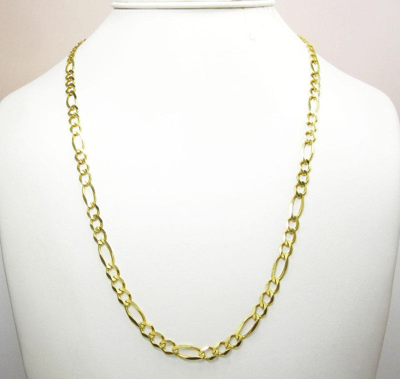 7.5MM 10K Gold Hollow Figaro Link Chain, Chain, Jawa Jewelers, Jawa Jewelers