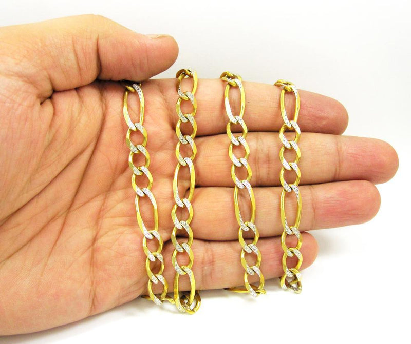 8MM 10K Yellow Gold Pave Figaro Link Chain, Chain, Jawa Jewelers, Jawa Jewelers