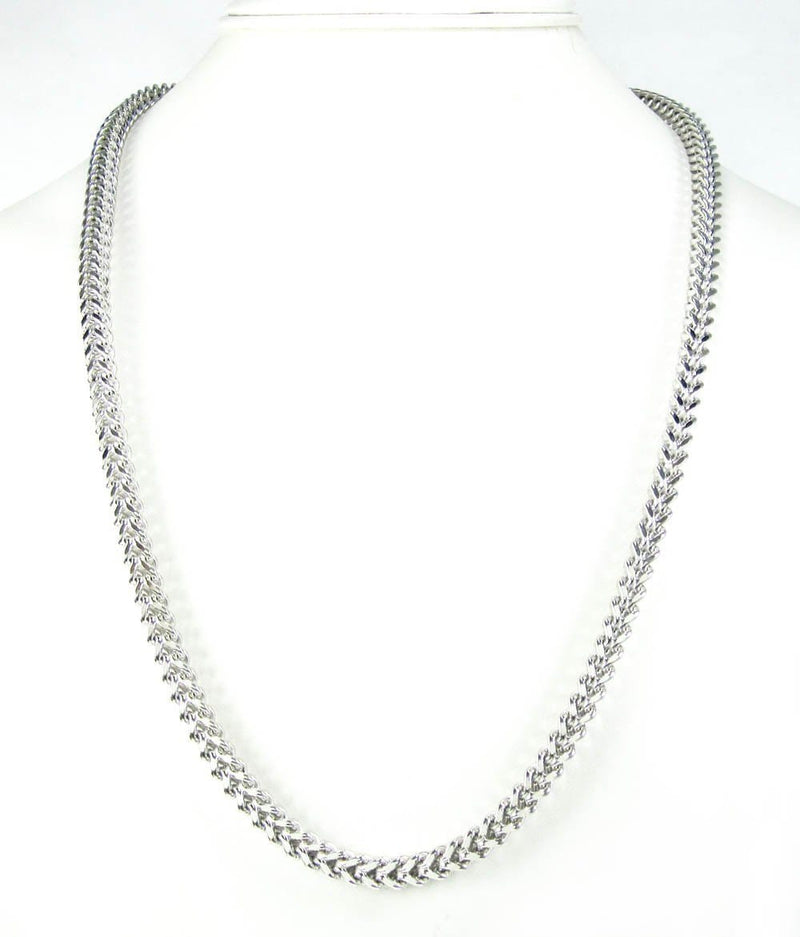 10K White Gold 5.5MM Hollow Franco Chain - Jawa Jewelers