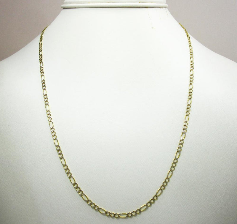 2MM 10K Yellow Gold Pave Figaro Link Chain, Chain, Jawa Jewelers, Jawa Jewelers