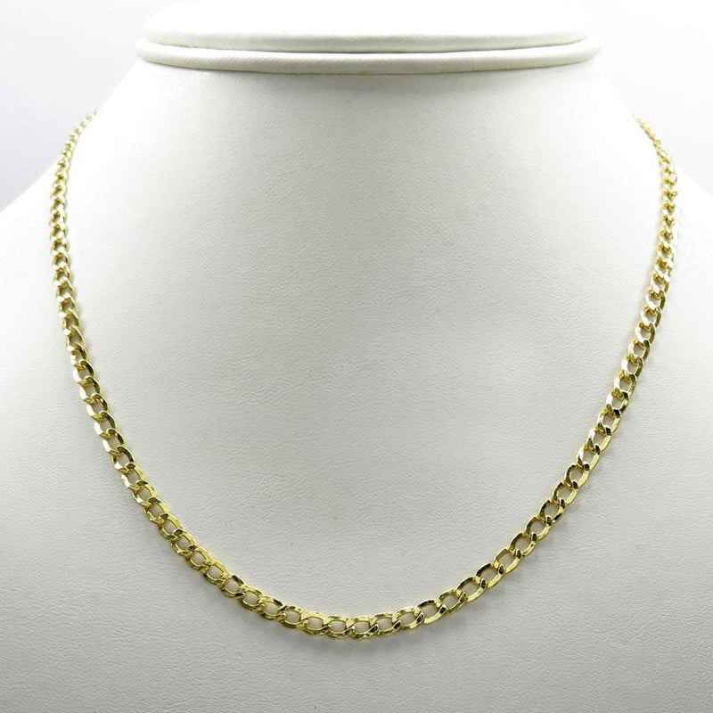 2MM 10K Yellow Gold Hollow Cuban Chain, Chain, Jawa Jewelers, Jawa Jewelers