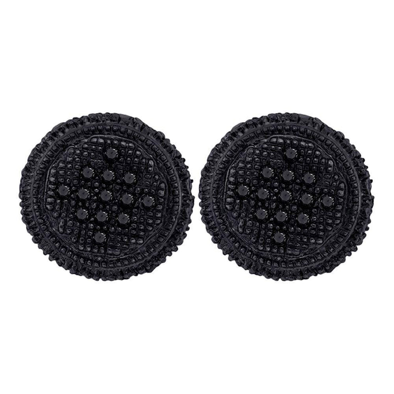 Sterling Silver Mens Round Black Color Enhanced Diamond Circle Cluster Stud Earrings 1//3 Cttw