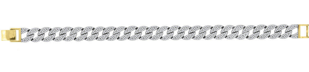 925 Sterling Silver Mens Yellow-tone Cubic Zirconia Miami Cuban 8 Fashion Bracelet, Bracelets, JJ-SLV, Jawa Jewelers