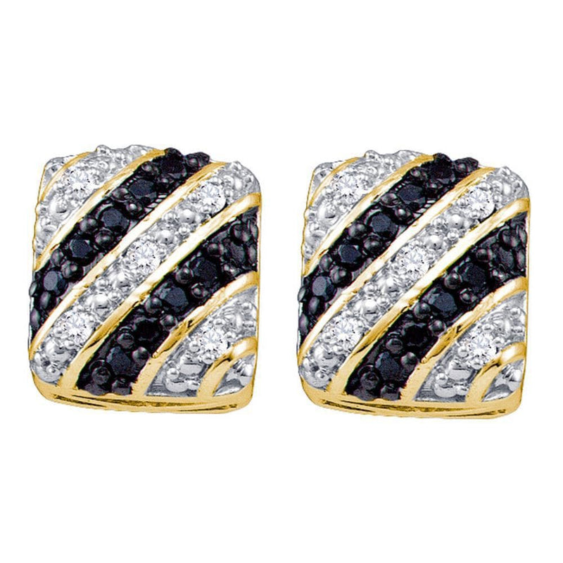 10k Yellow Gold Black Color Enhanced Diamond Striped Square Womens Cluster Stud Earrings 1/3 Cttw