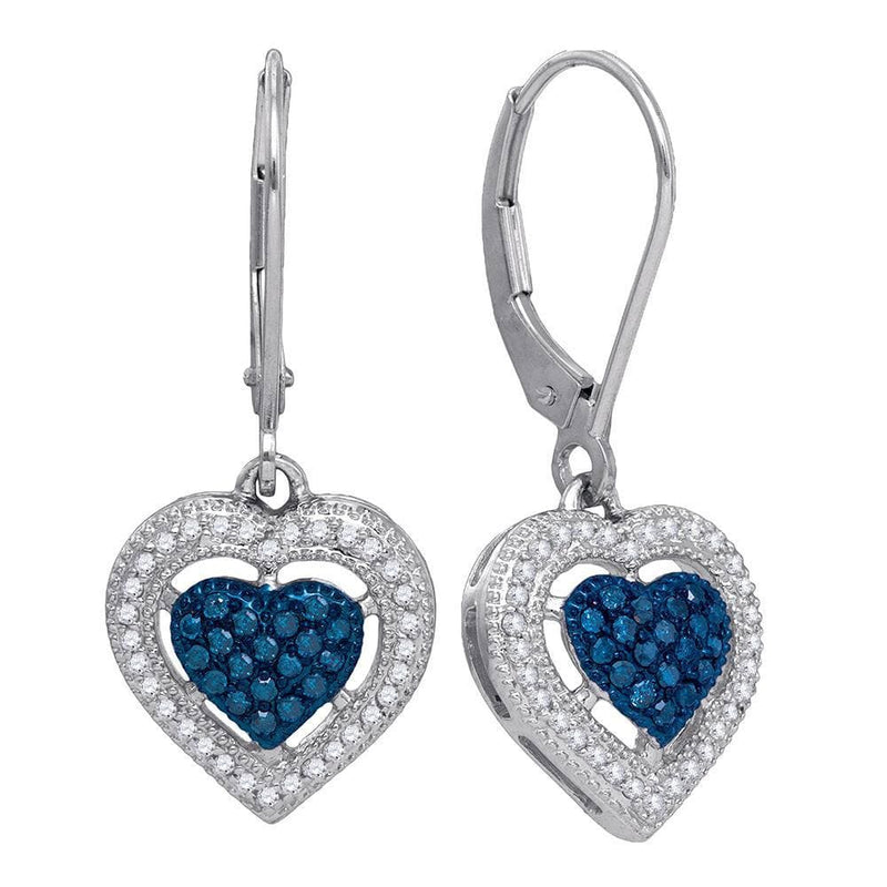 blue Diamond Heart Dangle Earrings