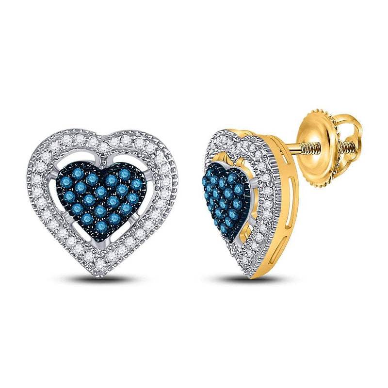 10kt Yellow Gold Womens Round Blue Color Enhanced Diamond Heart Screwback Earrings 3/8 Cttw