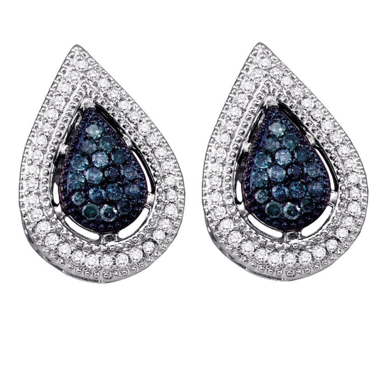 10kt White Gold Womens Round Blue Color Enhanced Diamond Teardrop Cluster Earrings 3/8 Cttw