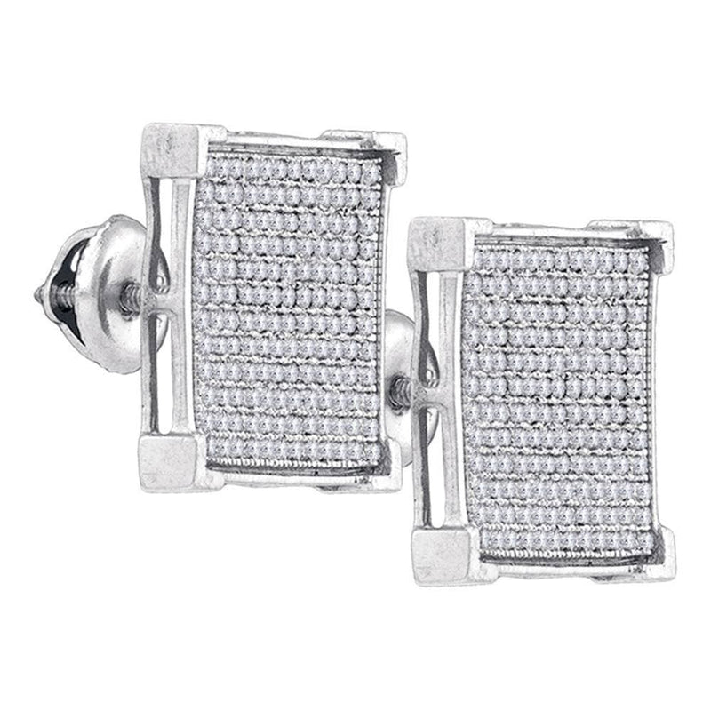 Sterling Silver Womens Round Diamond Square Cluster Stud Earrings 7/8 Cttw