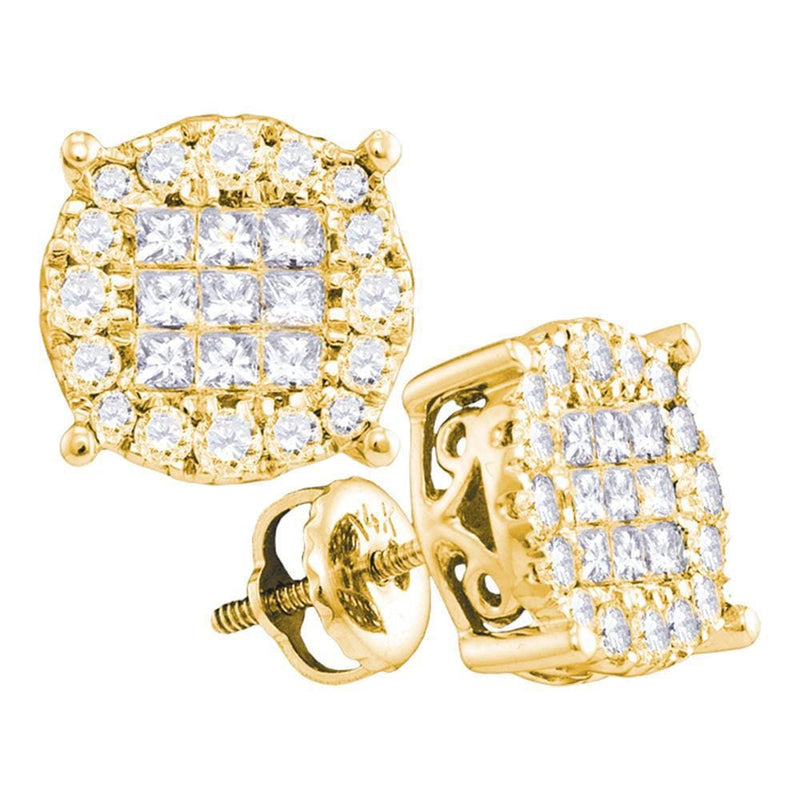 14kt Yellow Gold Womens Princess Diamond Soleil Cluster Earrings 1.00 Cttw