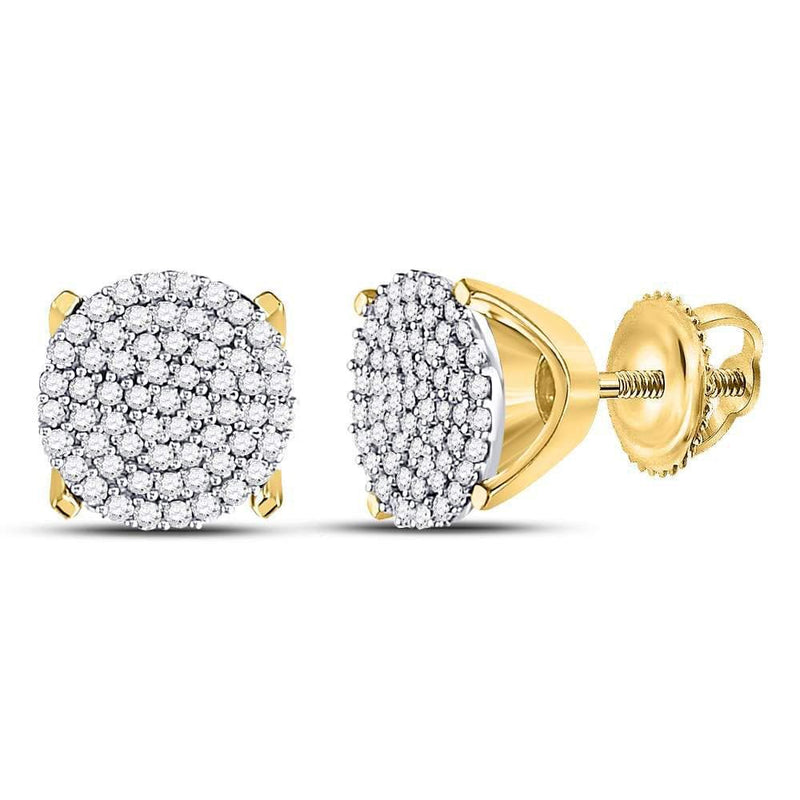 10kt Yellow Gold Womens Round Diamond Circle Cluster Stud Earrings 1/3 Cttw