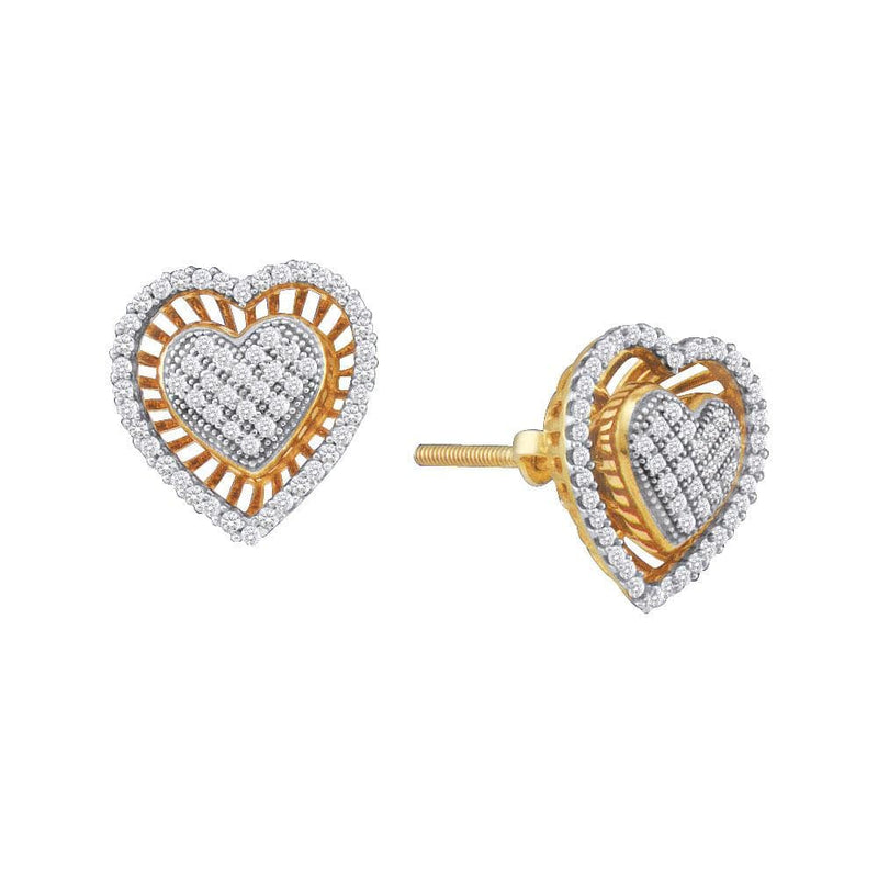 10kt Yellow Gold Womens Round Diamond Heart Cluster Stud Earrings 1/3 Cttw