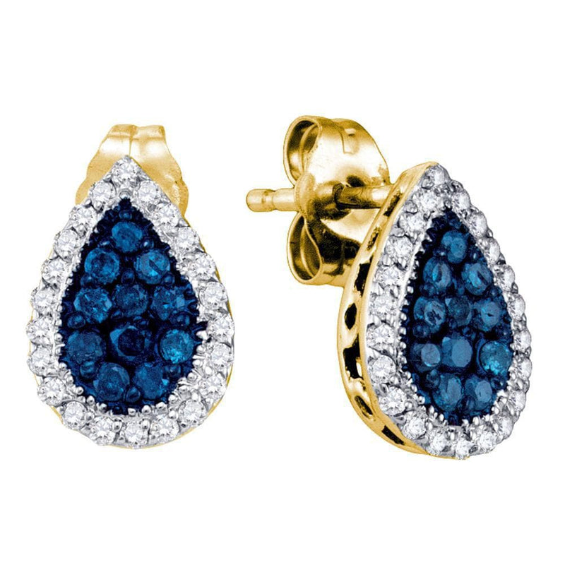 10kt Yellow Gold Womens Round Blue Color Enhanced Diamond Teardrop Cluster Earrings 1/2 Cttw