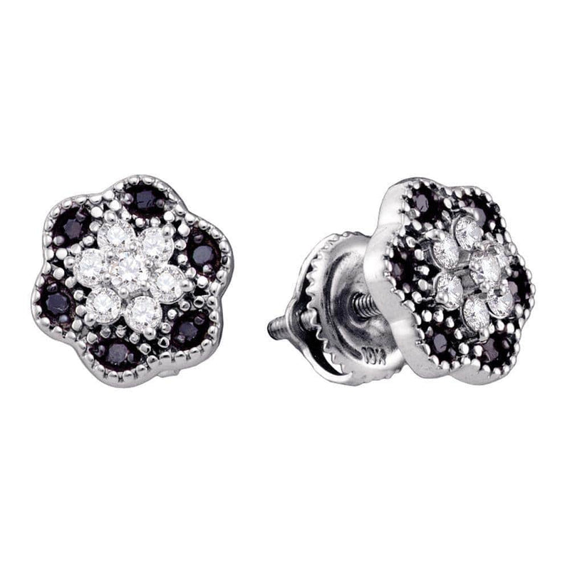 White Gold Black Diamond Earrings
