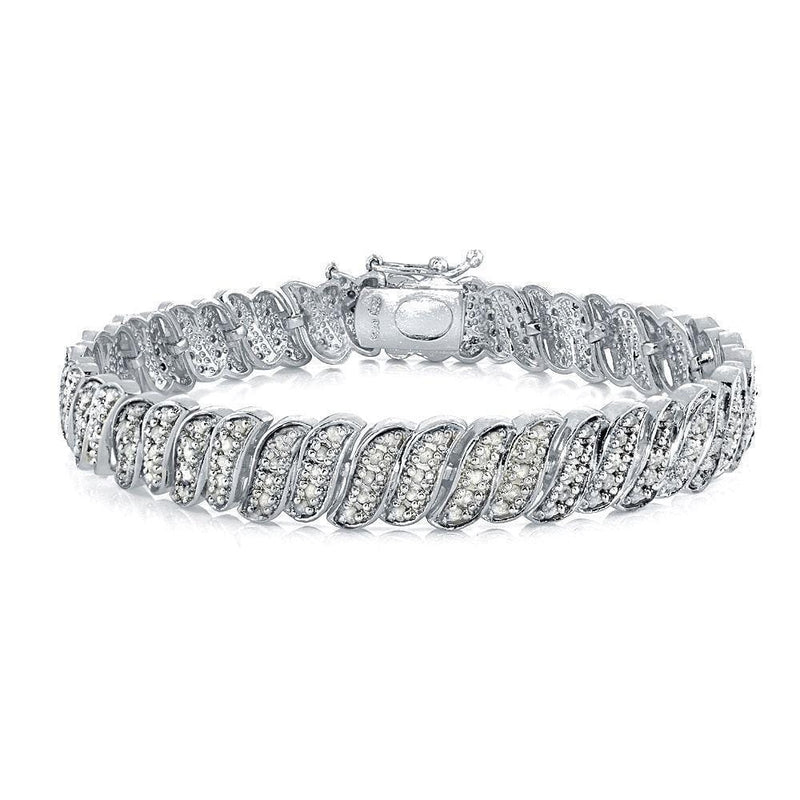 14K White Gold Plated Diamond 1.00CT Tennis Bracelet, Bracelets, Jawa Jewelers, Jawa Jewelers