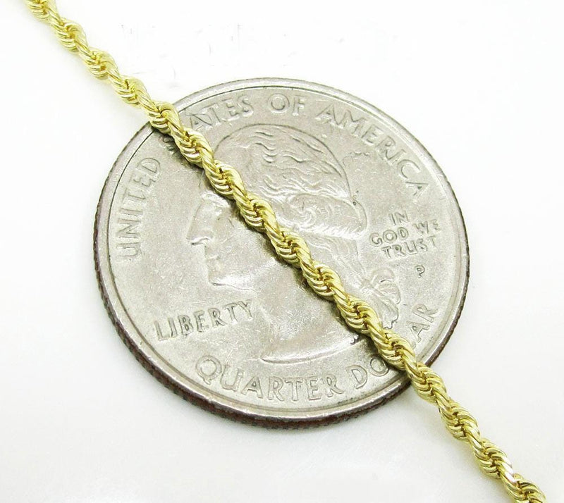 2.5MM gold diamond cut rope chain