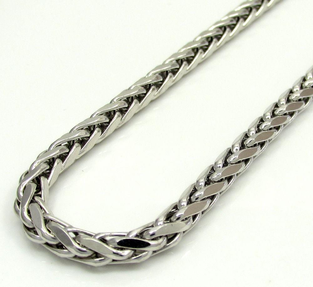 10K White Gold 5MM Rounded Palm Chain Necklace - Jawa Jewelers