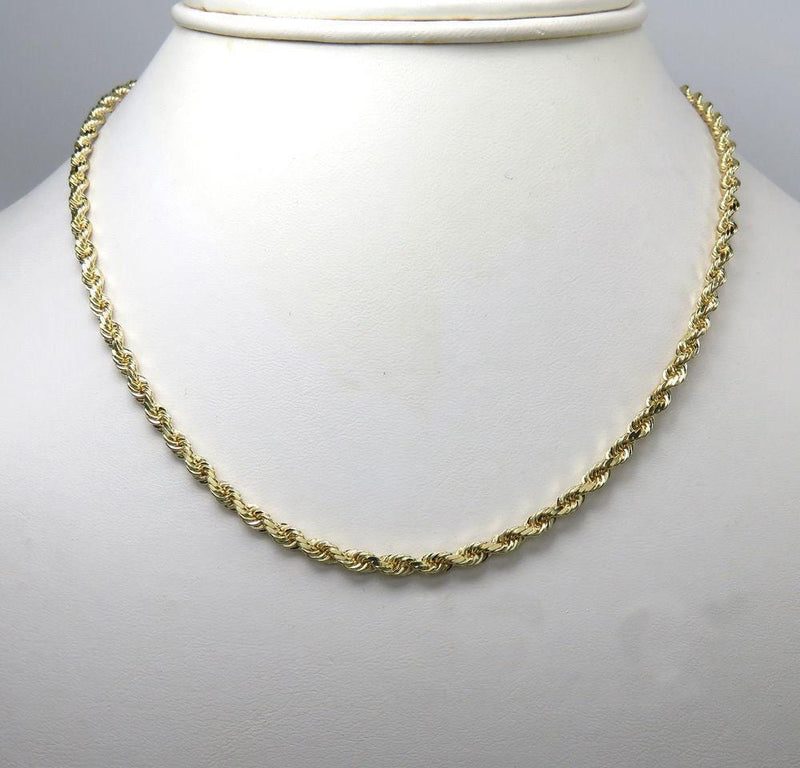 18 inch solid gold rope chain