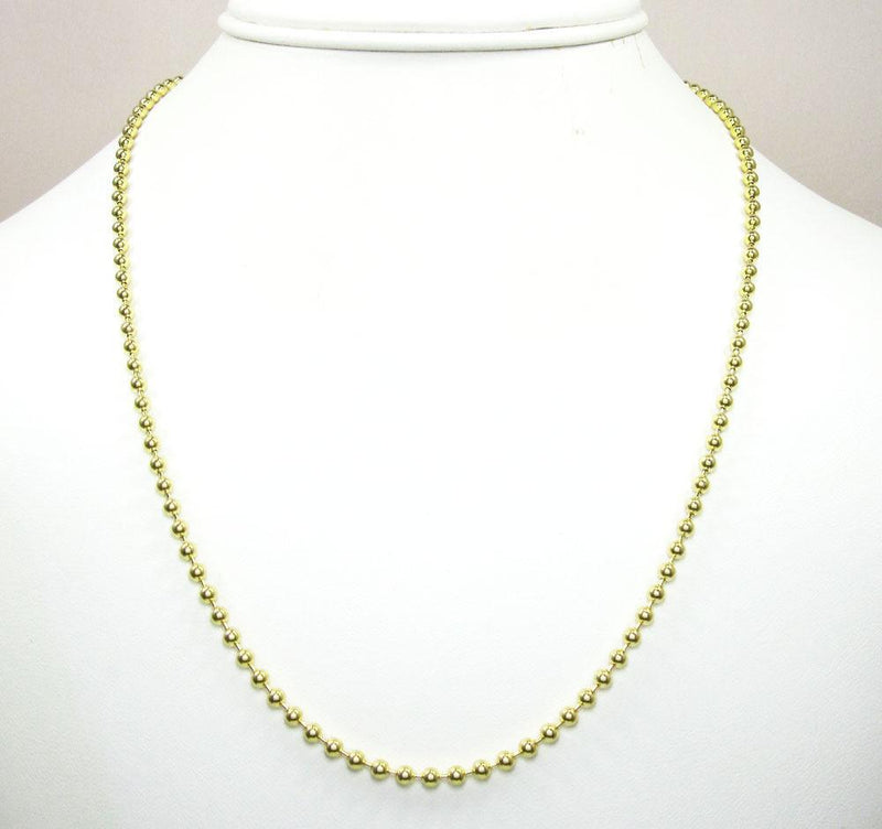 3MM 10K Yellow Gold Plain Dog Tag Chain Necklace