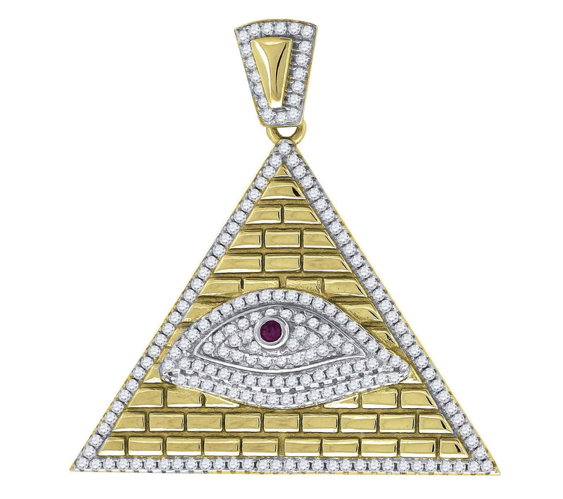 925 Sterling Silver Yellow-tone Cubic Zirconia CZ Evil Eye Pyramid Religious Pendant Charm, Pendants, JJ-SLV, Jawa Jewelers