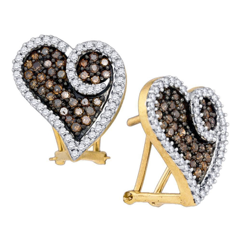 10kt Yellow Gold Womens Round Brown Color Enhanced Diamond Heart Earrings 1.00 Cttw