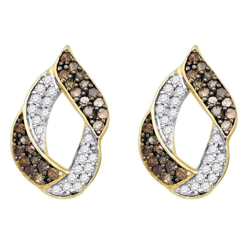 10kt Yellow Gold Womens Round Cognac-brown Color Enhanced Diamond Cluster Earrings 1.00 Cttw