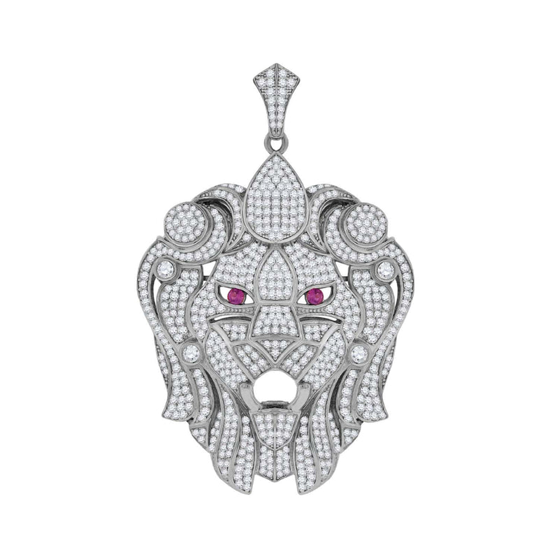 Sterling Silver Womens Round Cubic Zirconia CZ Animal Lion Face Cluster Fashion Charm Pendant, Pendants, Silverine, Jawa Jewelers