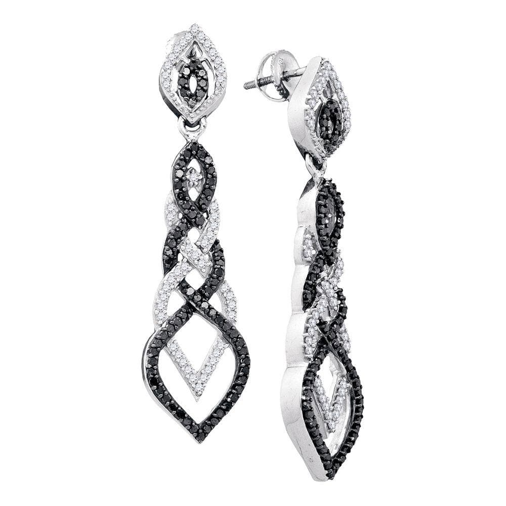Black Diamond Braided Dangle Earrings