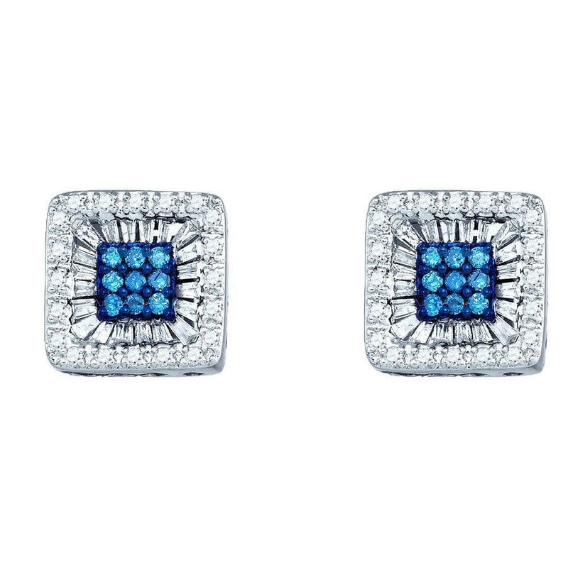 Square Stud Diamond Earrings