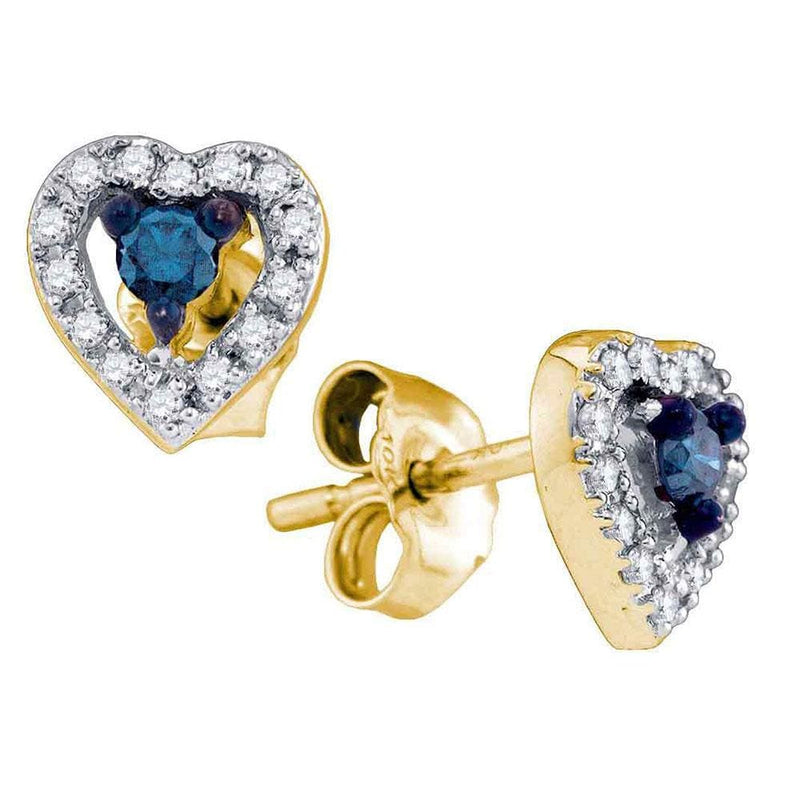 10kt Yellow Gold Womens Round Blue Color Enhanced Diamond Heart Stud Earrings 1/5 Cttw