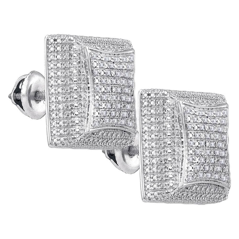 Diamond Square Dome Cluster Earrings