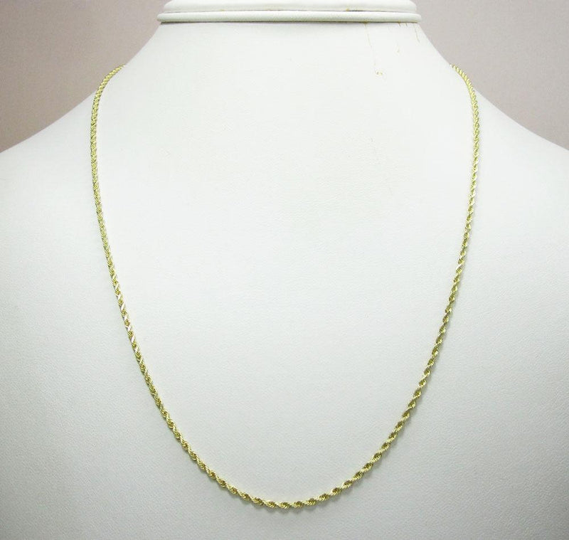 20 inch 10k yellow gold hollow rope chain