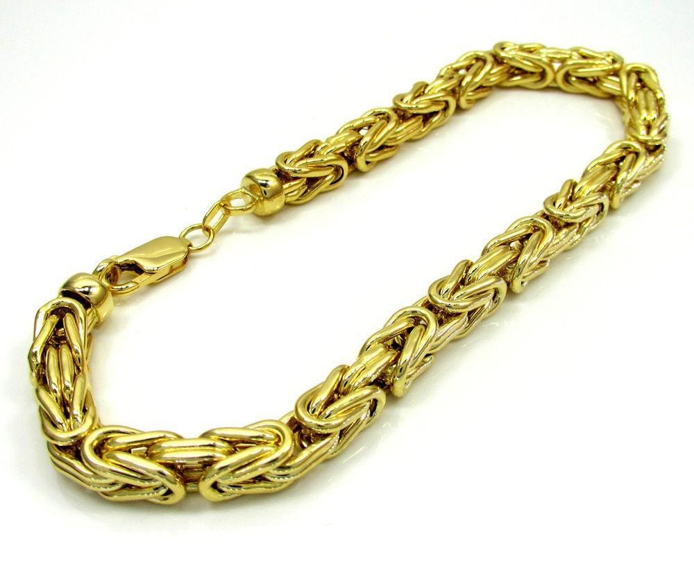 Men's 14K SOLID Gold Byzantine Bracelet 3MM -7-8 Inches