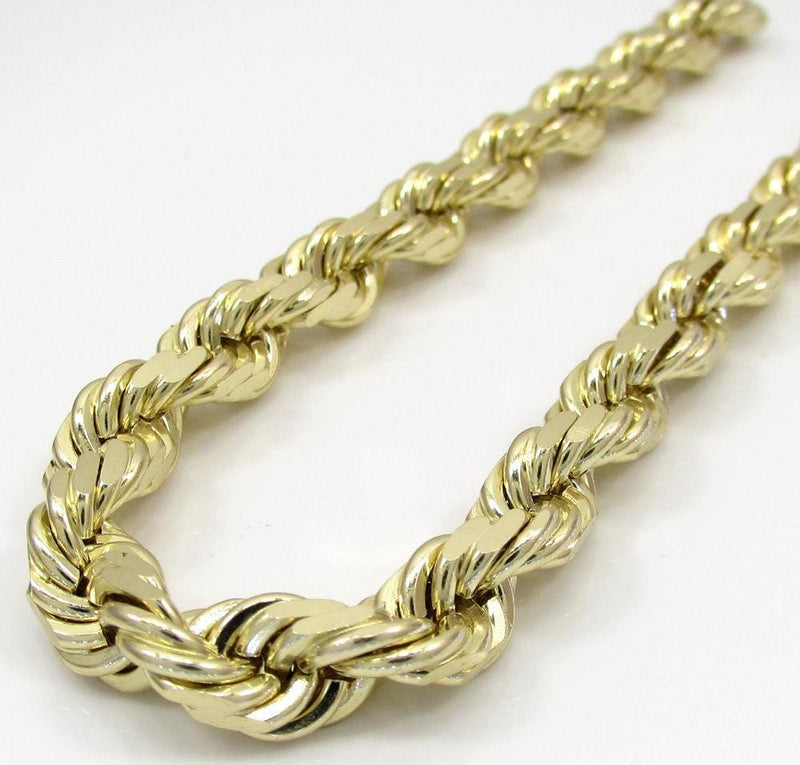 4c0dfbd25cfff 14k Yellow Gold 5MM Solid Rope Chain Diamond Cut Necklace