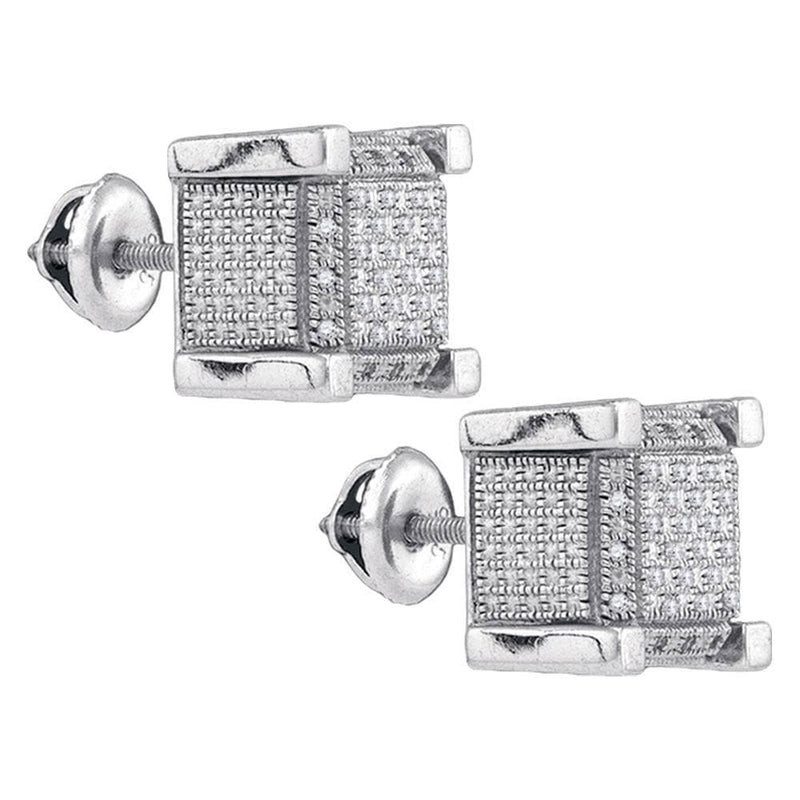 Sterling Silver Mens Round Diamond 3D Square Cluster Stud Earrings 1/5 Cttw