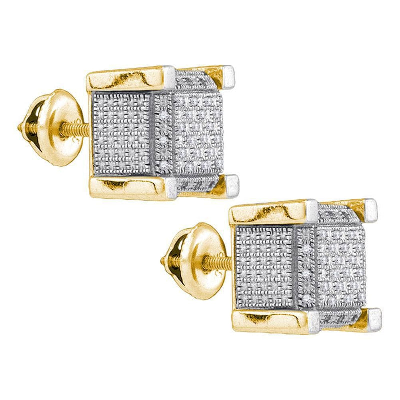 Yellow-tone Sterling Silver Mens Round Diamond 3D Square Cluster Stud Earrings 1/5 Cttw