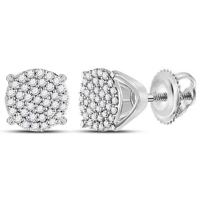 10kt White Gold Womens Round Diamond Circle Cluster Stud Earrings 1/4 Cttw