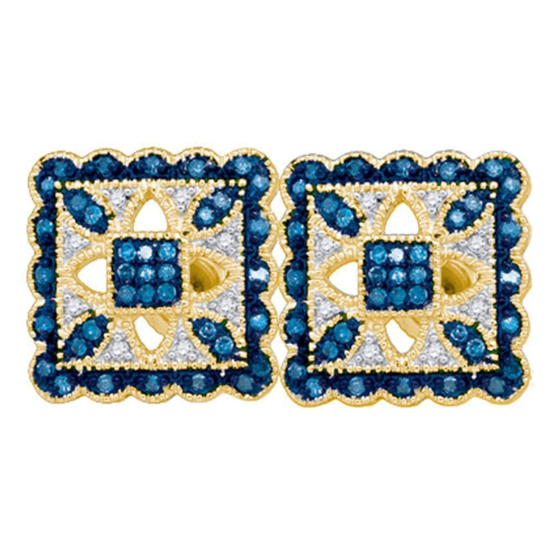 10kt Yellow Gold Womens Round Blue Color Enhanced Diamond Square Cluster Earrings 1/4 Cttw
