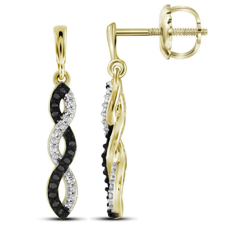 18kt Yellow Gold Womens Round Black Color Enhanced Diamond Dangle Earrings 1/6 Cttw