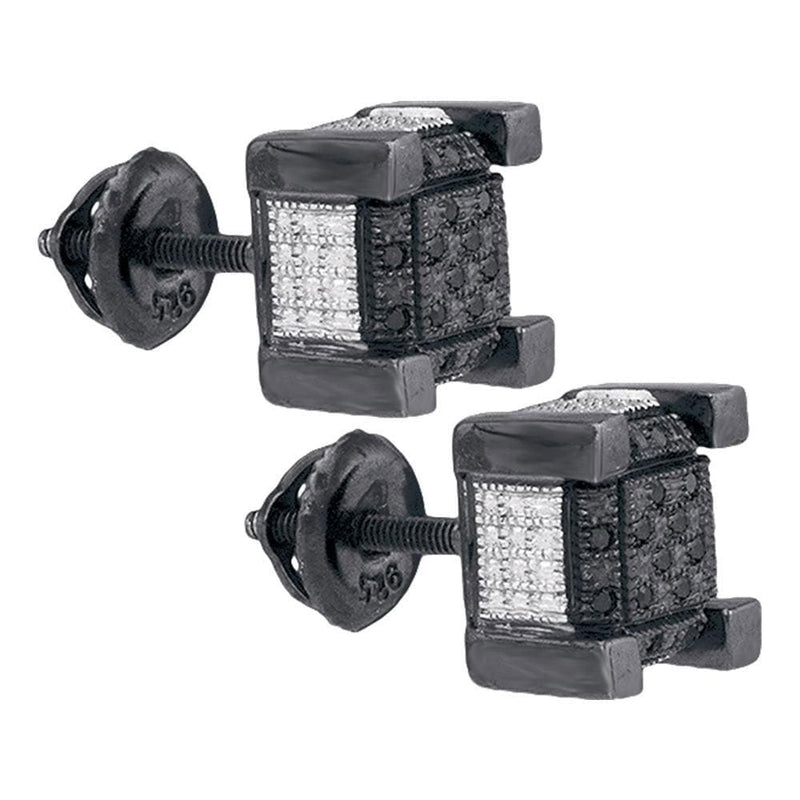 Sterling Silver Mens Round Black Color Enhanced Diamond 3D Square Cluster Earrings .02 Cttw