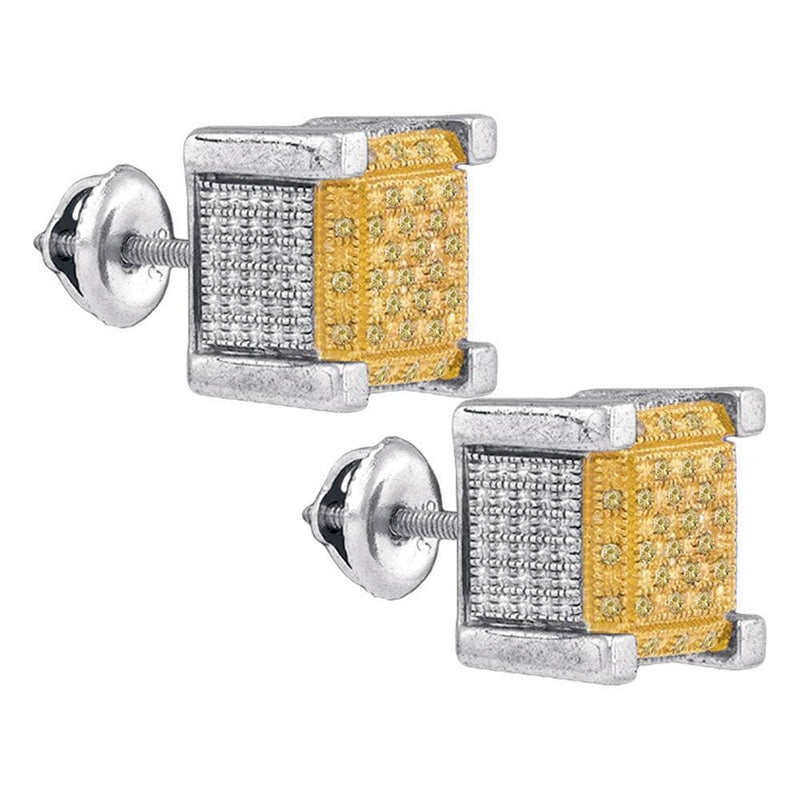 Sterling Silver Mens Round Yellow Color Enhanced Diamond 3D Cube Stud Earrings 1/5 Cttw