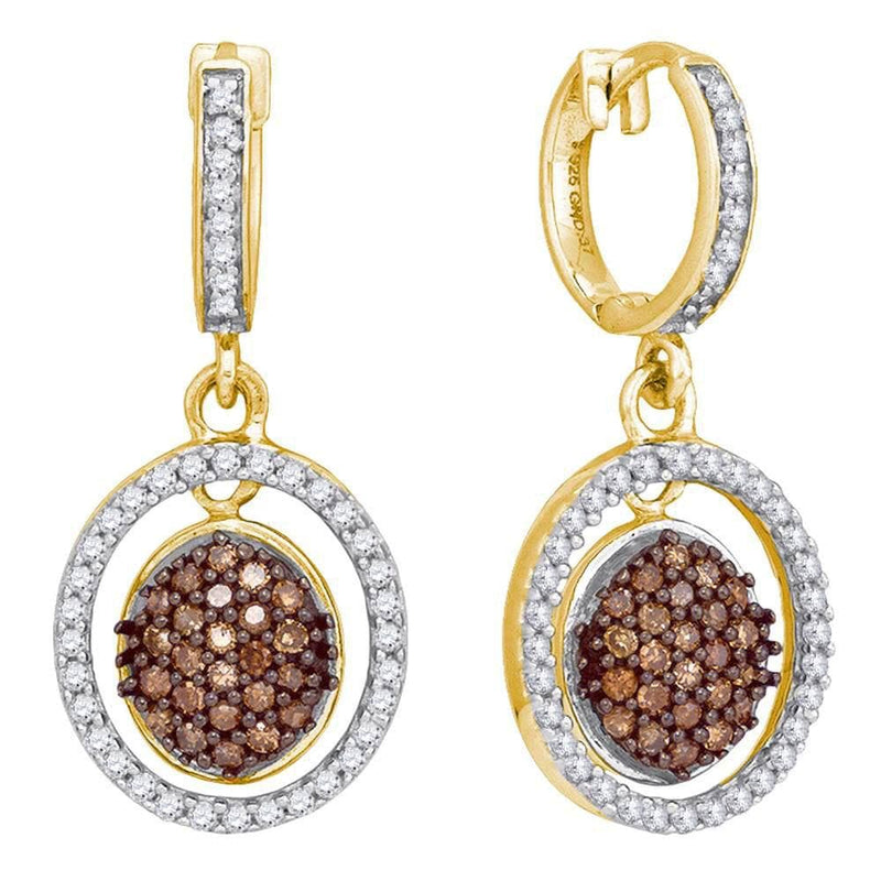 10kt Yellow Gold Womens Round Cognac-brown Color Enhanced Diamond Oval Frame Dangle Earrings 3/4 Cttw