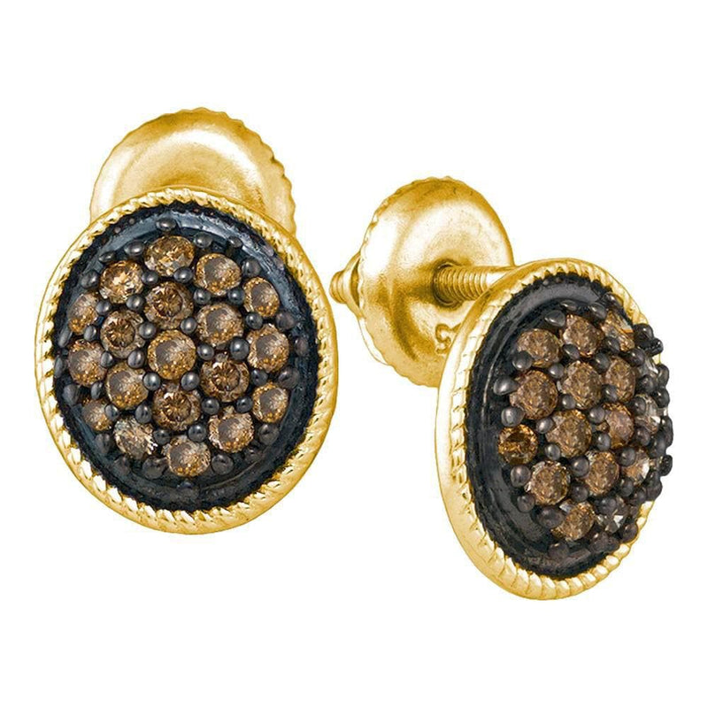 10kt Yellow Gold Womens Round Cognac-brown Color Enhanced Diamond Cluster Earrings 1/2 Cttw