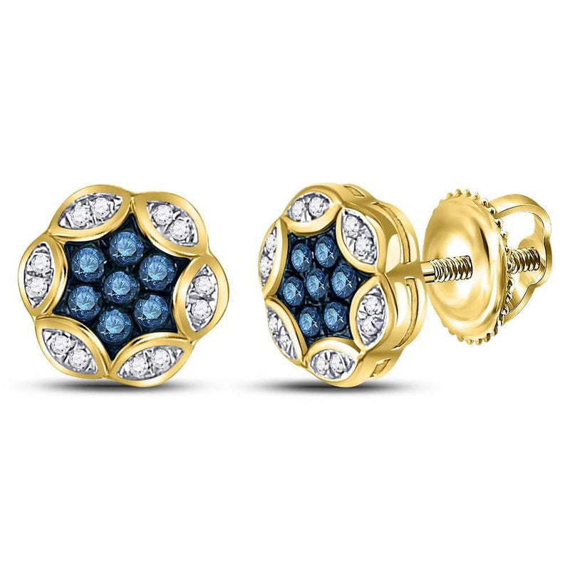10kt Yellow Gold Womens Round Blue Color Enhanced Diamond Cluster Stud Earrings 1/4 Cttw