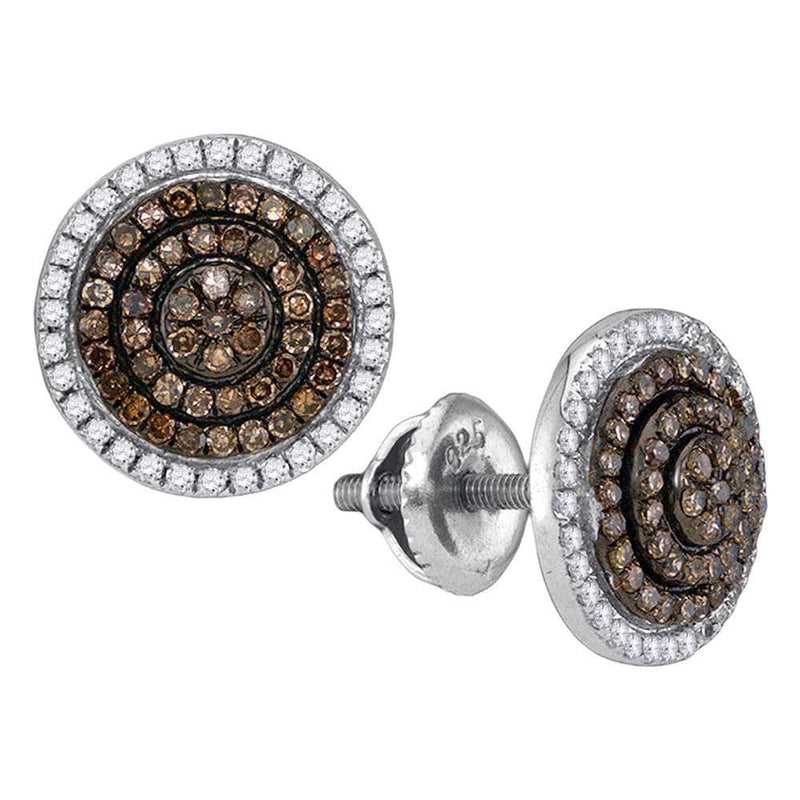 brown Diamond Concentric Cluster Earrings