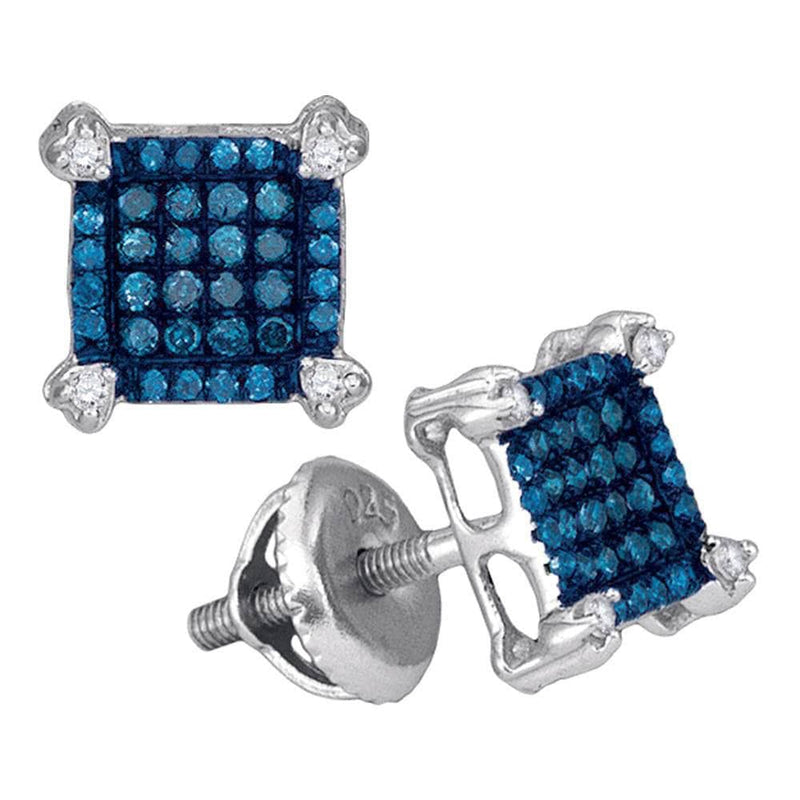 square diamond screw back earrings