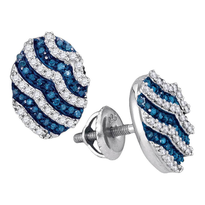 blue diamond Oval stripe Earrings